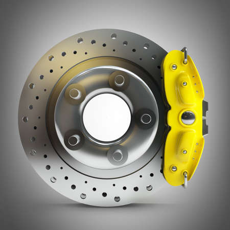 brake caliper: brake disk with a yellow support. High resolution 3d render
