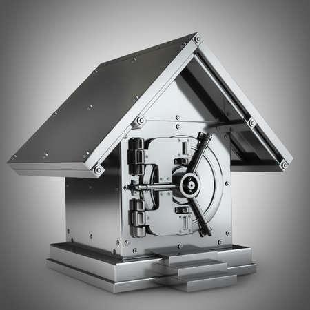 Bank Safe in form houses High resolution 3d render  版權商用圖片