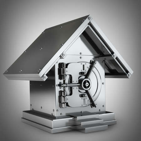 home security system: Bank Safe in form houses High resolution 3d render  Stock Photo
