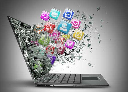 ic�ne logiciel: La mobilit? informatique. ordinateur portable avec les ic?nes des applications couleur haute r?solution 3d render