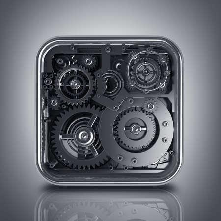 3D gears box. Work concept. High resolution  版權商用圖片