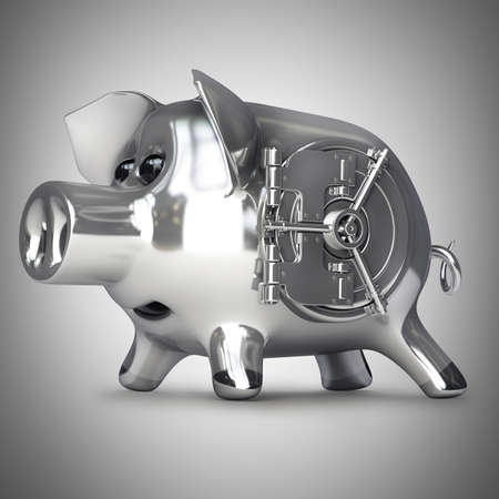 steel Piggy bank with vault door. High resolution 3d render  photo