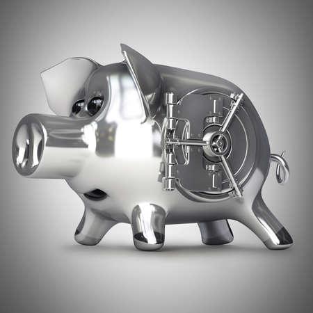 steel Piggy bank with vault door. High resolution 3d render  photo