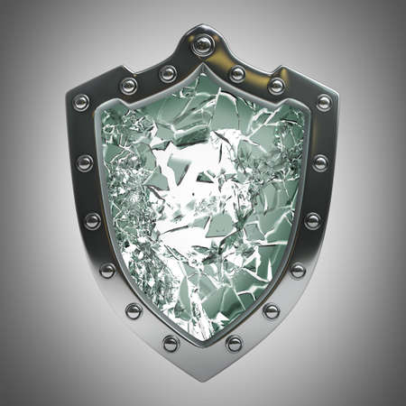Broken security shield with crack  High resolution 3D  photo