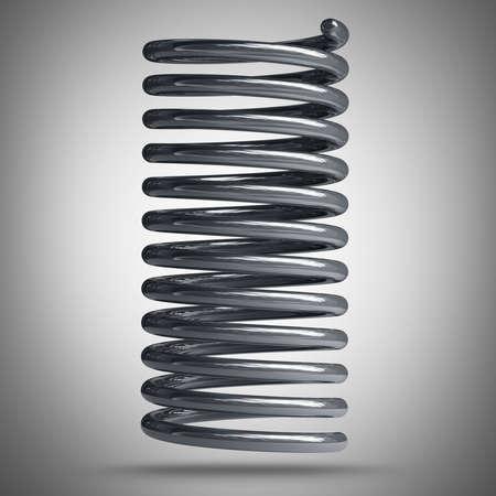 bobina: 3d de cromo de alta resolución de la primavera