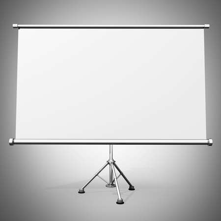 Blank projection screen with tripod High resolution 3d render