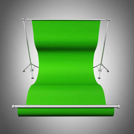 slideshow: Blank studio green screen with tripod  High resolution 3d render  Stock Photo