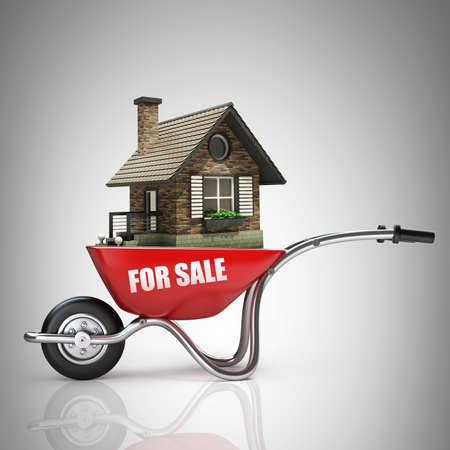 Concept. Red wheelbarrow with for sale house 3d illustration. high resolution  illustration
