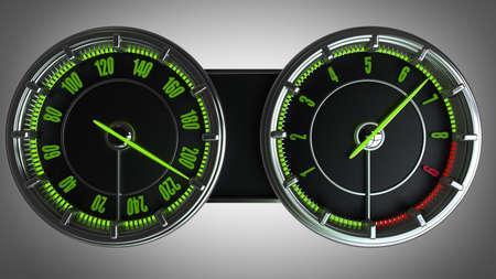 rev: Modern car illuminated dashboard High resolution 3d  Stock Photo
