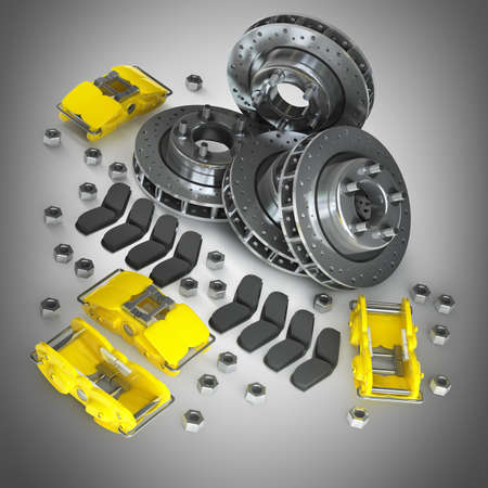Disassembled Brake Disc with yellow Calliper from a Racing Car High resolution 3d render  photo