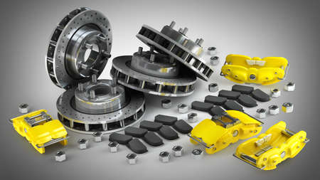 Disassembled Brake Disc with yellow Calliper from a Racing Car High resolution 3d render