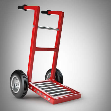 dolly: Empty red hand truck 3d illustration. high resolution
