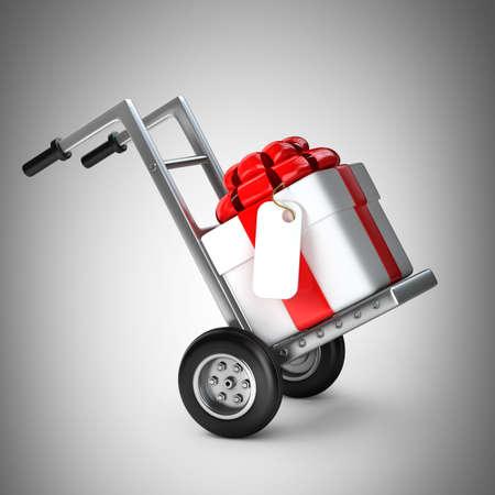 Rode steekwagen met Gift box 3D-afbeelding. hoge resolutie Stockfoto