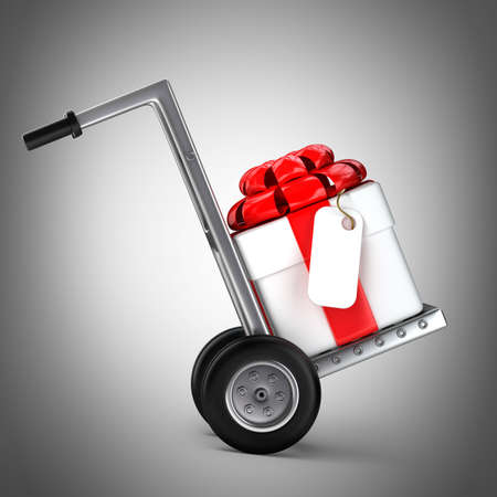 hand truck: Red hand truck with Gift box 3d illustration. high resolution