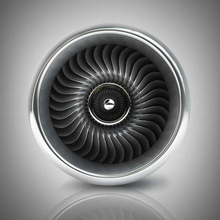 aluminum airplane: Jet engine front view. High resolution. 3D image