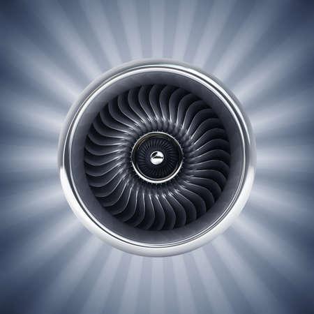 turbojet: Jet engine front view. High resolution. 3D image