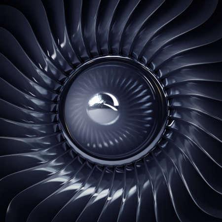 aluminum airplane: close up Jet engine front view. High resolution. 3D image  Stock Photo