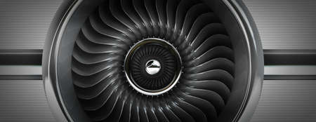 aluminum airplane: Jet engines front view. High resolution. 3D image
