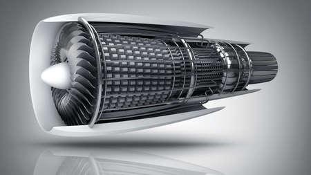 moteur à l'intérieur du jet. Haute résolution. Images 3D
