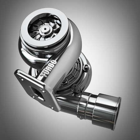 Steel turbocharger. High resolution 3d render
