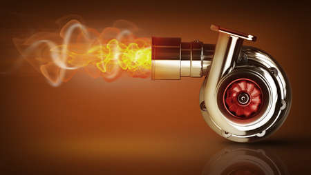Steel turbocharger with fire. High resolution 3d render  Stock Photo