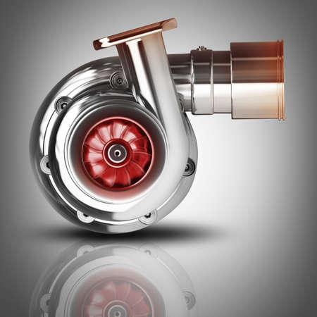 turbo: Steel turbocharger. High resolution 3d render