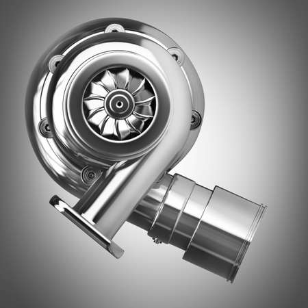turbine engine: Steel turbocharger. High resolution 3d render
