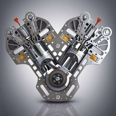Motor de coche V8. El concepto de motor de coche moderno. 3d de alta resolución