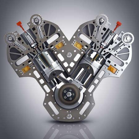 실린더: V8 자동차 엔진. 현대 자동차 엔진의 개념입니다. 고해상도 3d 렌더링