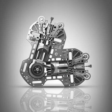 V8 Car engine. Concept of modern car engine. High resolution 3d render  photo