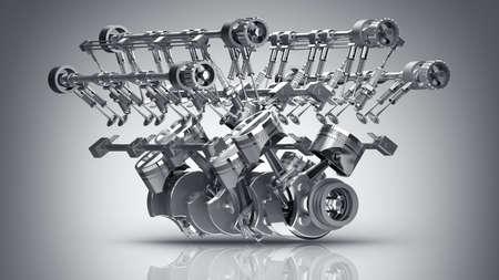 V8 motor van een auto. Concept van de moderne automotor. Hoge resolutie 3d render