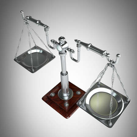 either: vintage scales. High resolution 3D image  Stock Photo