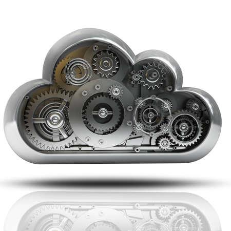 industrial engineering: nube imetallic con engranajes aislados sobre fondo blanco de alta resoluci�n en 3D