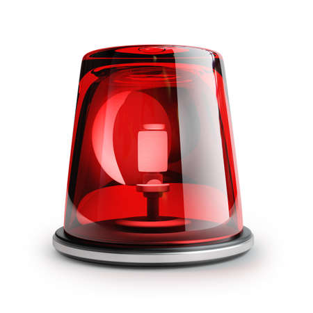 warning: red siren isolated on white background High resolution 3d  Stock Photo
