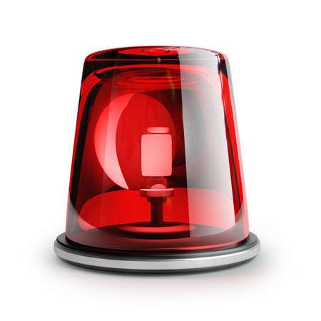 sirena de color rojo sobre fondo blanco 3d de alta resolución
