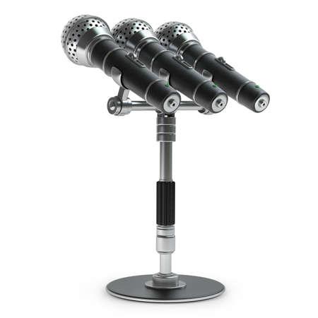 Microfoon die op witte achtergrond Hoge resolutie 3D-