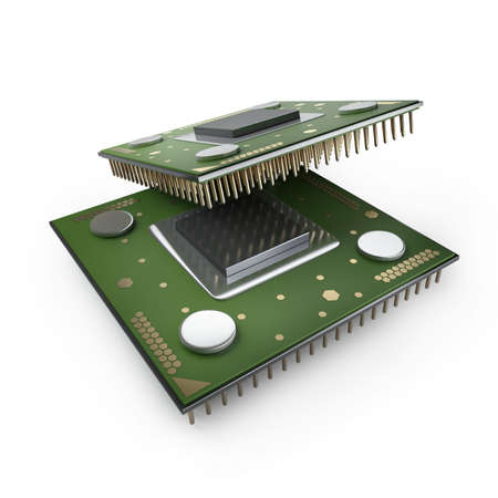 semiconductor: Processor unit CPU isolated on white background High resolution 3d