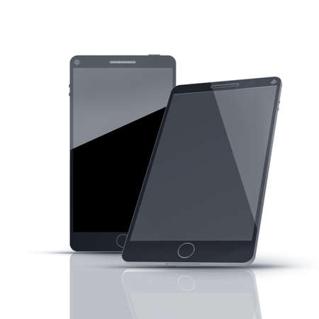 Black modern smartphones  isolated on white background High resolution 3d  photo