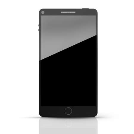 Black modern smartphone isolated on white background High resolution 3d  photo