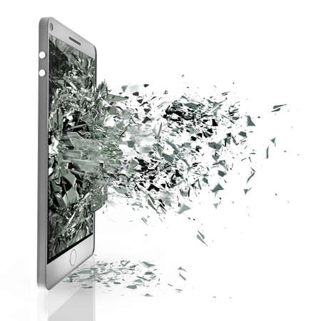 vidrio roto: PAD con pantalla t�ctil rota aislados sobre fondo blanco de alta resoluci�n en 3D Foto de archivo