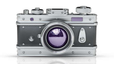 vintage camera: silver photo camera isolated on white background. Vintage. High resolution 3d