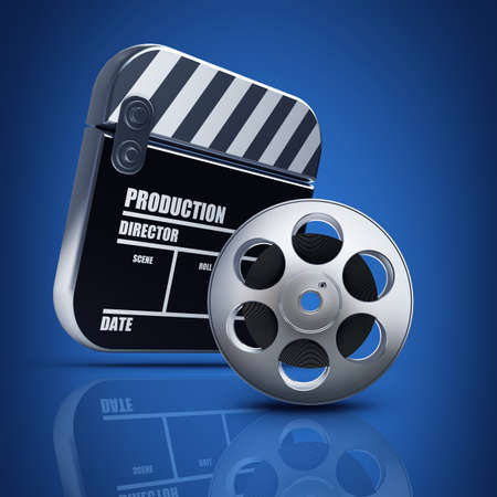 clap board: Clap board and Film roll. movies symbol closeup. High resolution. 3D image