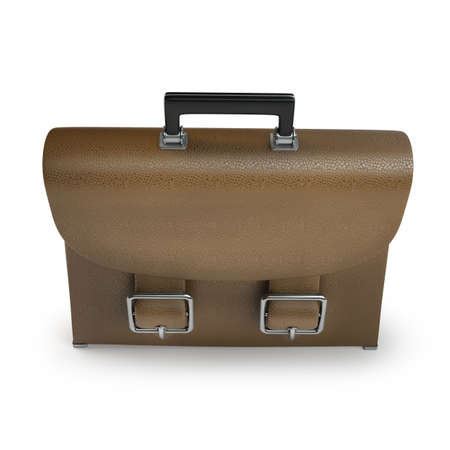 brief case: Brown leather briefcase isolated on white background High resolution 3d  Stock Photo