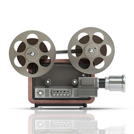 3 d ホワイト バック グラウンドの高解像度で分離された昔ながらのシネマ ・ プロジェクター 写真素材