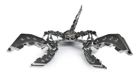 3d robot Scorpion isolated on white background High resolution photo