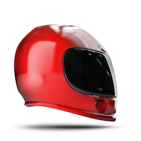 Red moto helmet isolated on white background High resolution 3d Stock Photo - 24042793