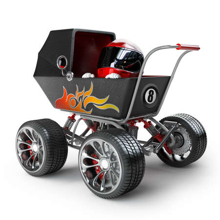 big: Baby super Carriage with big car wheel and the small racer in a helmet isolated on white background High resolution 3d