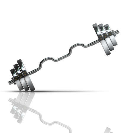 kilos: silver dumbbell isolated on white background High resolution 3d