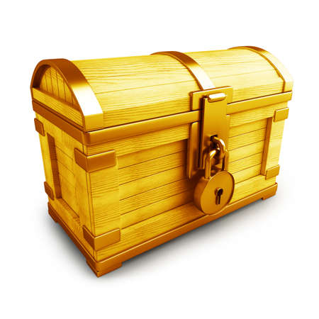 Gold collection. vintage chest with lockisolated on white background High resolution 3d