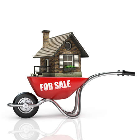 house sale: Concept. Red wheelbarrow with for sale house isolated on white background High resolution 3d
